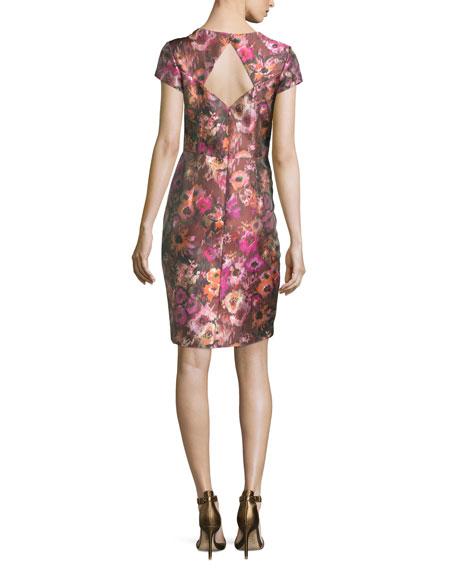 Short-Sleeve Floral Jacquard Cocktail Dress, Cactus Rose