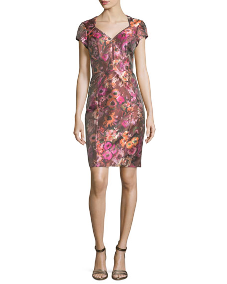 Theia Short-Sleeve Floral Jacquard Cocktail Dress, Cactus Rose