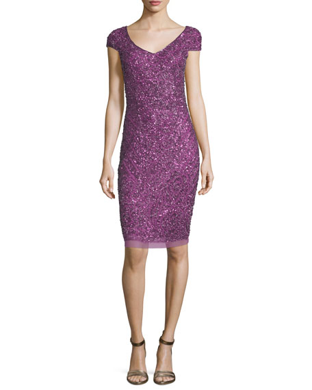 Theia Beaded Cap-Sleeve Cocktail Dress, Violet