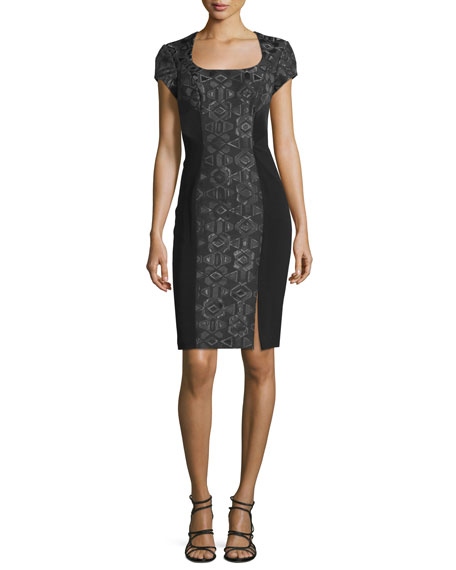 Theia Short-Sleeve Geometric-Jacquard Cocktail Dress, Black