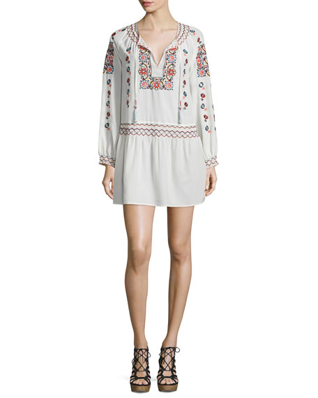Calypso St Barth Cantoral Floral-Embroidered Dress, Candle White