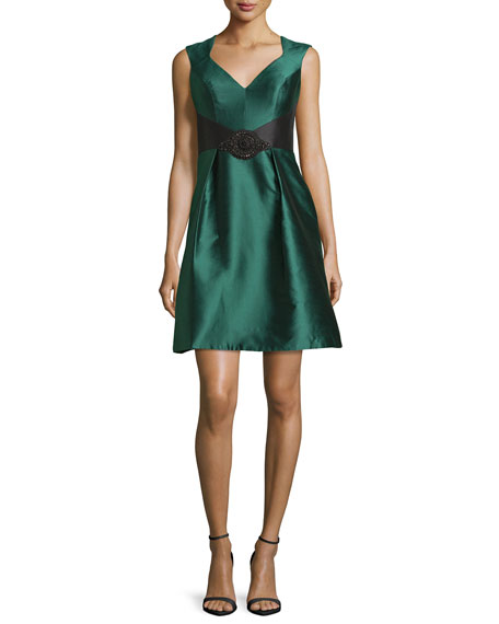 TheiaSleeveless Open-Back Satin Cocktail Dress, Spruce