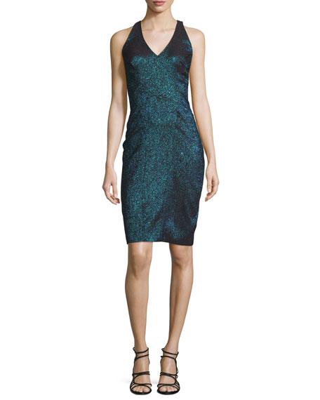 Theia Sleeveless Metallic Jacquard Dress w/Illusion Back, Teal
