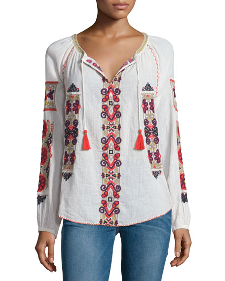 Calypso St. Barth Inabu Embroidered Long-Sleeve Top, Candle