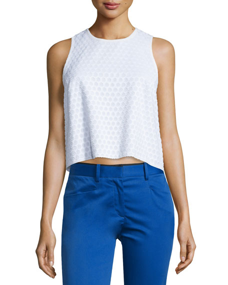 Rag & BoneEvie Sleeveless Cotton Honeycomb Top, White