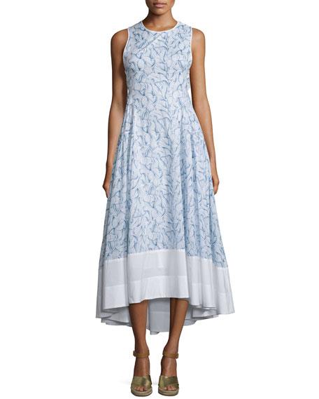 Tory Burch Crisscross-Back High-Low Dress, White Ellora