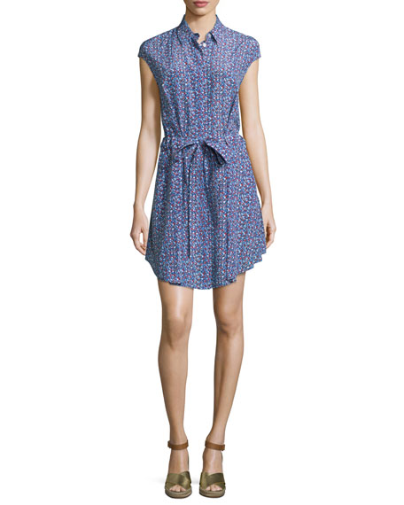 Gigi Cap-Sleeve Belted Shirtdress, Hudson Blue Linos