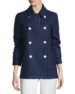 Long-Sleeve Double-Breasted Coat, Navy