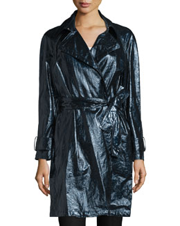 Long-Sleeve Belted Trench Coat, Black
