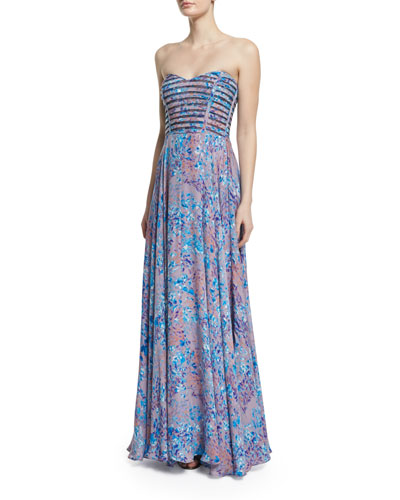 Tamara Strapless Sweetheart Printed Gown