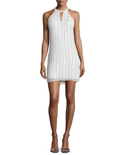 Sansa Halter Beaded Dress, White