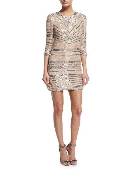 Parker Black Petra 3/4-Sleeve Beaded Cocktail Dress, Blush