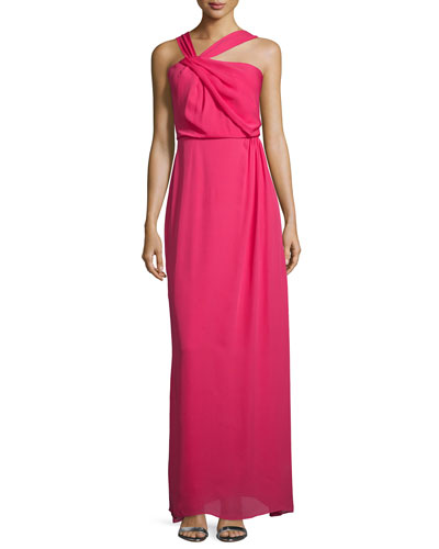 Selena Asymmetric-Neck Column Gown, Roseberry