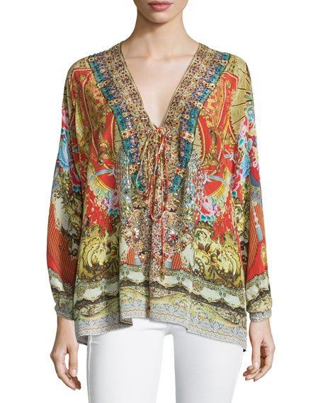 Camilla Embellished Lace-Up Shirt, Cameos Dance