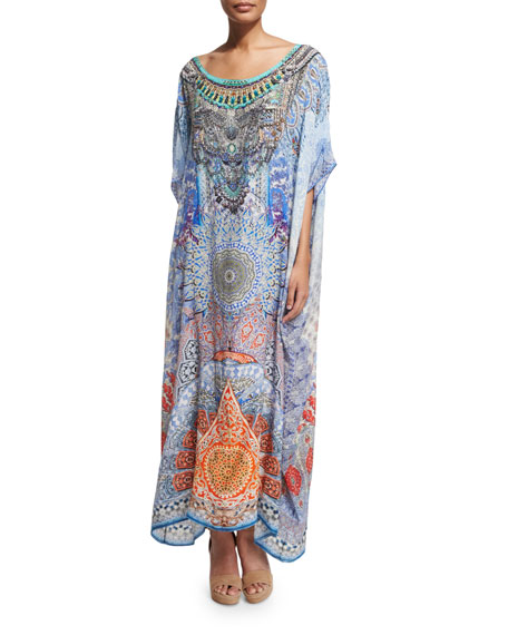Camilla 3/4-Sleeve Embellished Caftan Maxi Dress