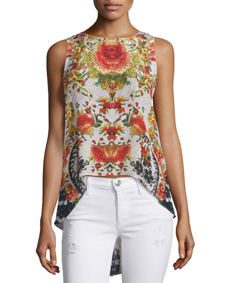 Camilla Sleeveless Embellished High-Low Top, La Rosa