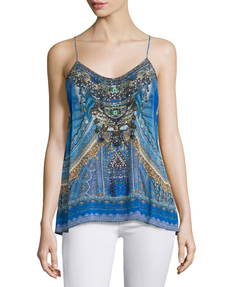 Camilla Shoestring-Strap Embellished Top, Palace of Dreams