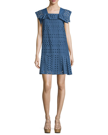 See by Chloe Short-Sleeve Cotton Eyelet Dress, Blue