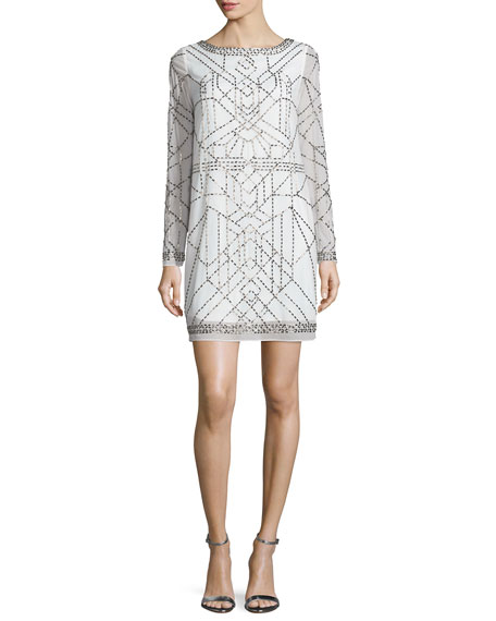 Laundry by Shelli Segal Platinum Long-Sleeve Beaded Cocktail Dress, Warm White