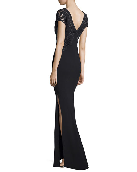 Embellished-Lace Cap-Sleeve Gown, Black