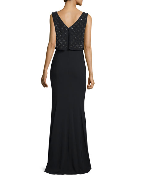Sleeveless Embellished-Popover Gown, Black