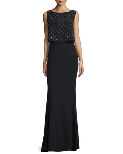 Sleeveless Embellished-Popover Gown, Black