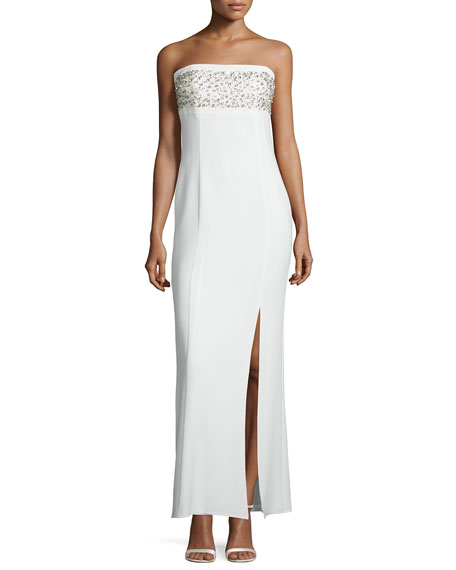 Laundry by Shelli Segal Platinum Strapless Embellished Column