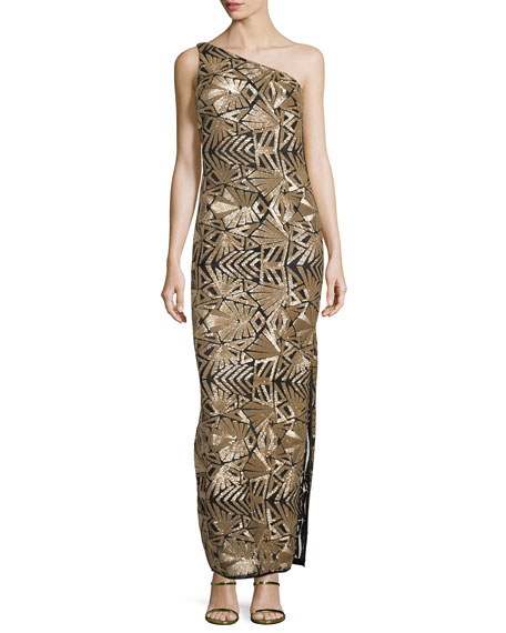 Laundry by Shelli Segal Platinum One-Shoulder Sequined Gown,