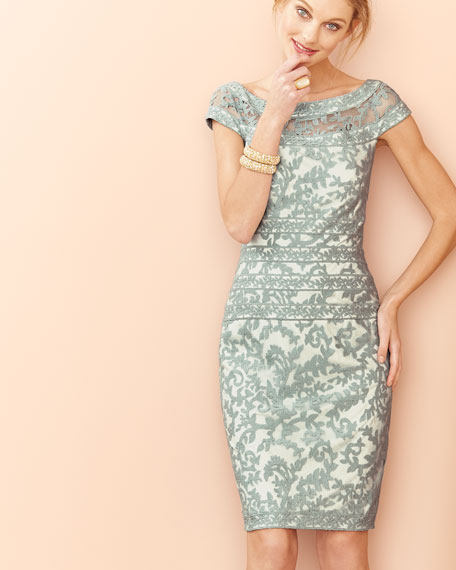 Filigree Embroidered Lace Cocktail Dress, Mint