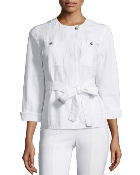 Tory Burch Everett Belted Jacket, White