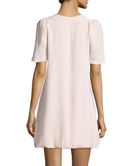 Puffed Short-Sleeve Shift Dress, Pink