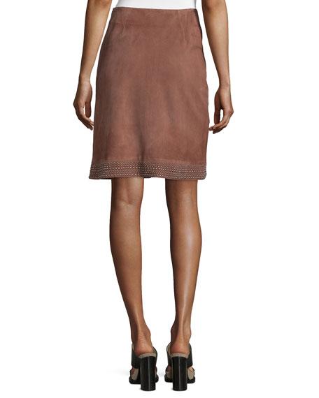 Riva Embellished Suede Skirt, Nutmeg