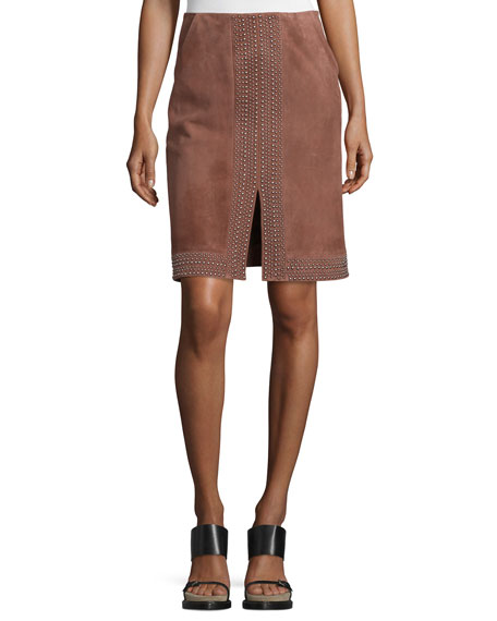 Elizabeth and James Riva Embellished Suede Skirt, Nutmeg