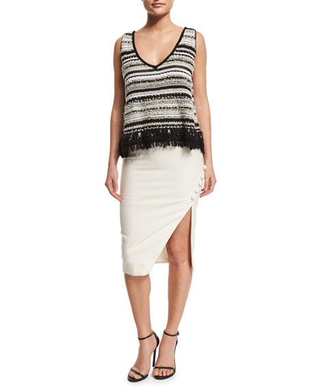 Clementina Asymmetric Pencil Skirt, Ivory