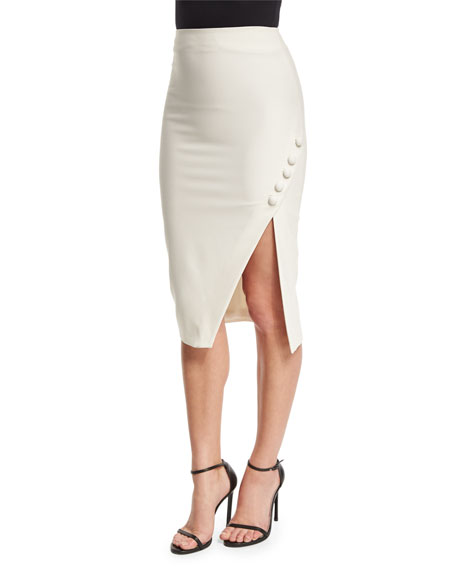 Elizabeth and James Clementina Asymmetric Pencil Skirt, Ivory