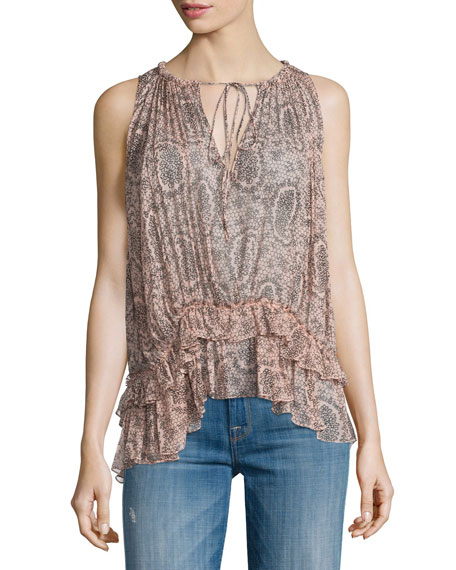 Elizabeth and James Mirla Sleeveless Paisley-Print Top, Cherry
