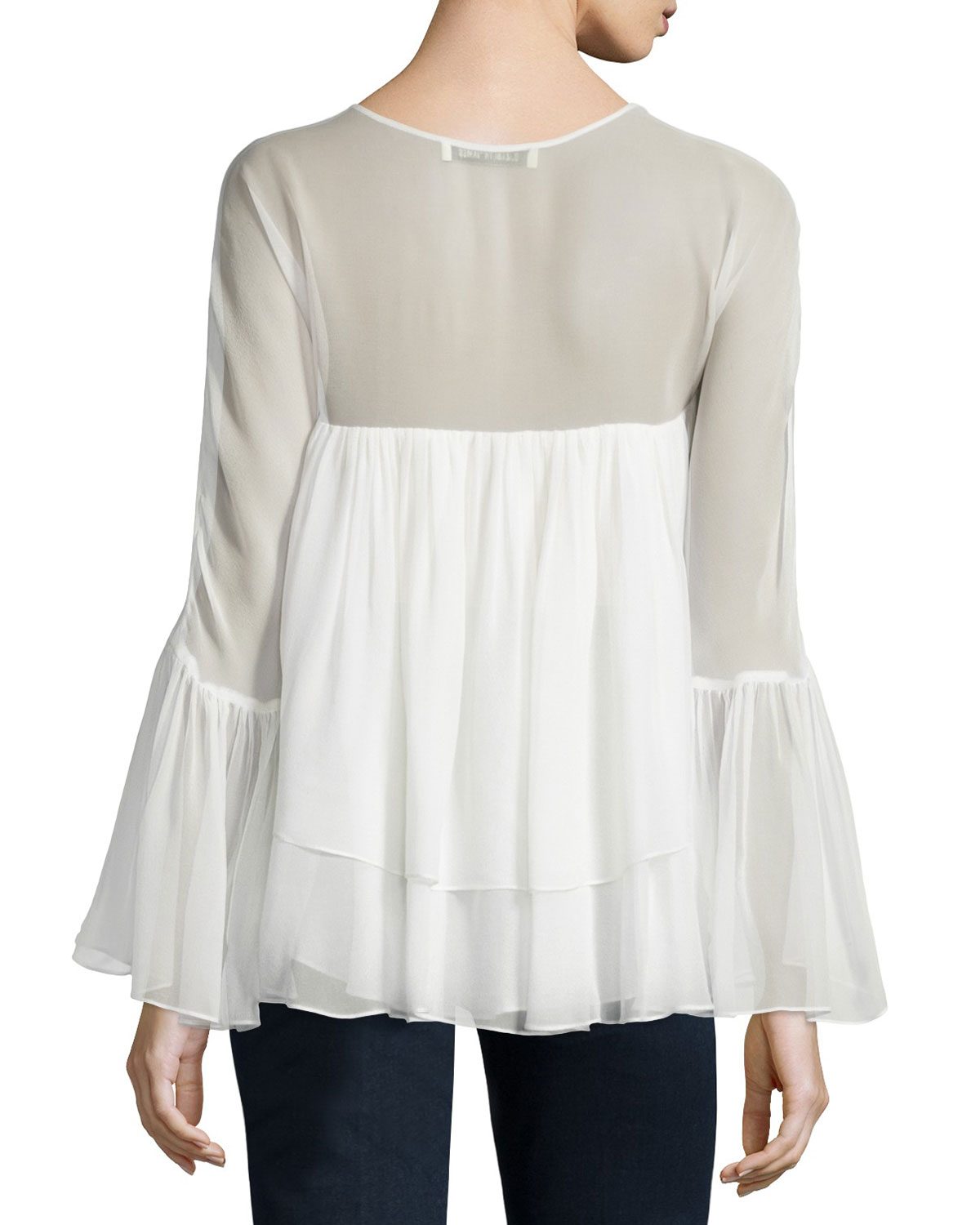 Elizabeth And James Woman Alanis Tiered Silk-chiffon Blouse Ivory Size M Elizabeth & James Outlet For Sale Discount Collections Cheap Sale New Arrival Buy Cheap Amazing Price Buy Online Cheap 7EjWO7A