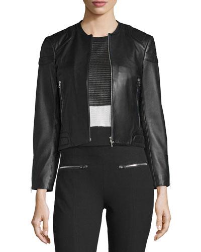 Astor Leather Zip-Front Jacket, Black