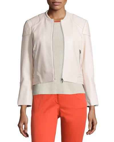 Astor Leather Zip-Front Jacket, Blush