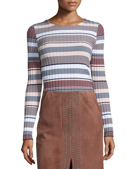 Elizabeth and James Long Sleeve Striped Pullover, Pink/Multi