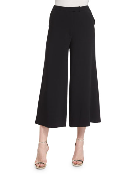 New Presli Wide-Leg Cropped Trousers, Black