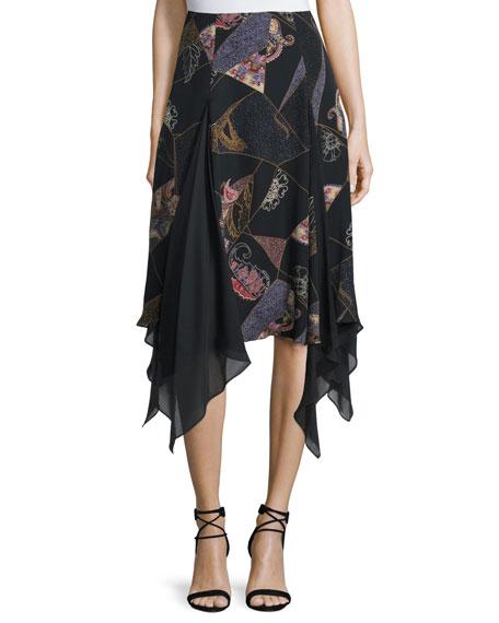Elizabeth and James Reza Asymmetric-Hem Skirt, Black Multi