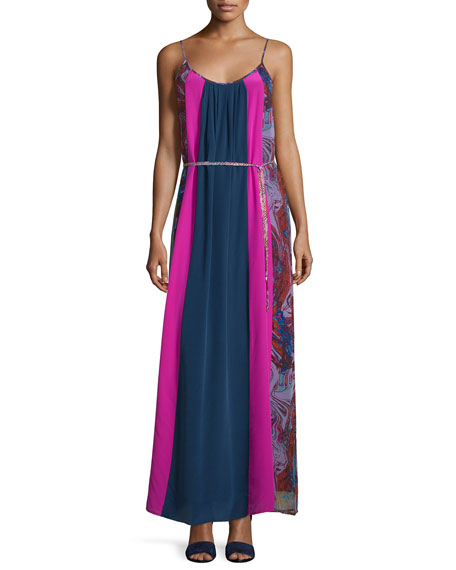 Ella Moss Celeste Mixed-Print Silk Maxi Dress, Berry