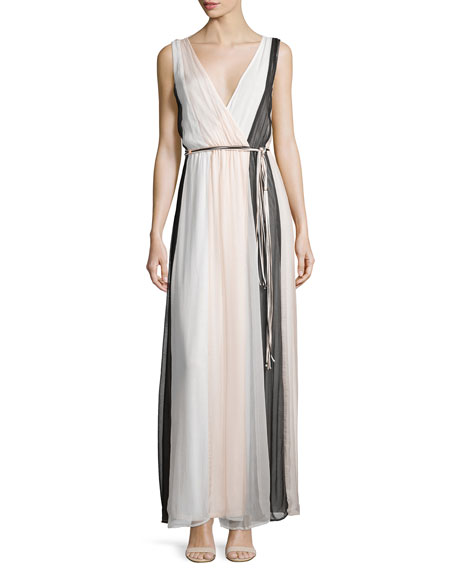Ella Moss Ophelia Sleeveless Colorblock Silk Maxi Dress,