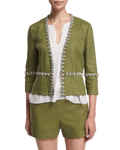 Tory Burch Embellished Linen Burlap Short Jacket