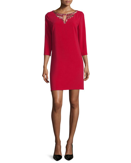 Laundry by Shelli Segal 3/4-Sleeve Embellished-Neck Dress, Cherry