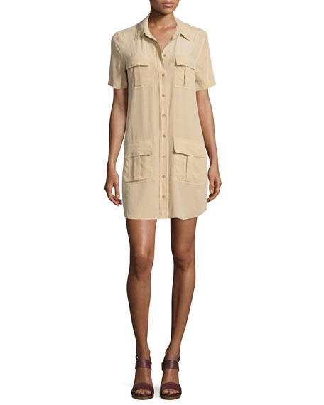 Equipment Remy Button-Front Utility Dress, Khaki