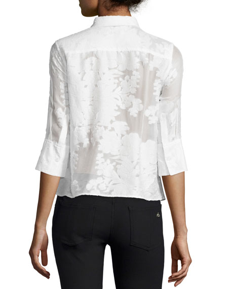 Esme 3/4-Sleeve Button-Front Blouse, Bright White