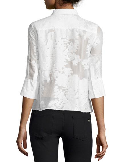 Esme 3/4-Sleeve Button-Front Blouse, Bright White