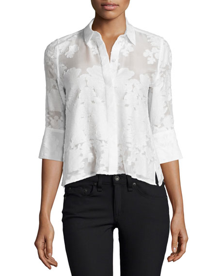 Equipment Esme 3/4-Sleeve Button-Front Blouse, Bright White